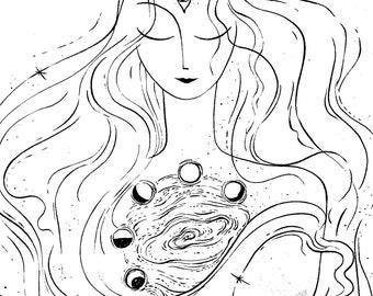 Cosmic Girl - original drawing