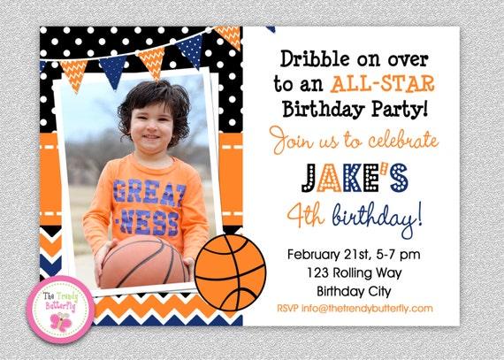 Basketball Birthday Invitation Basketball Birthday Party