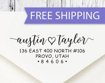 Return Address Stamp, Self Inking Address Stamp, Address Stamp, Wedding Address Stamp, Couples Address Stamp (211) Free Shipping