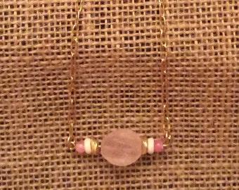 Pink bead bar necklace