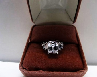 2.5 Carat CZ And Sterling Ring With Baguette And Round CZ's / Cushion Cut Size 8 Engagement Ring
