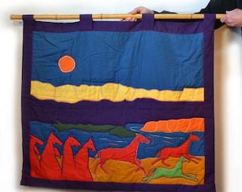 Handmade Art Quilt Dreamscape w Horses  70s Wall Hanging