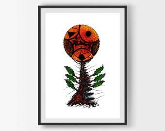 Botanical Modern Art, Botanical Print, Botanical Illustration, Tree Wall Art, Surrealist Art, Abstract Art Print, Printable Wall Art