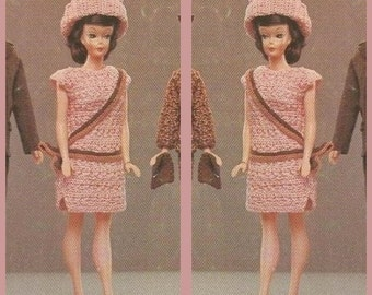 Instant Download PDF Vintage Crochet Pattern to make a Super Full Skirt Coat, Shift Dress and Bordeaux Hat for Teenage Dolls such as Barbie