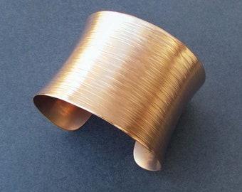 Hammered Bronze Cuff Bracelet Willow Bark Textured Metal Artisan Handmade Modern Jewelry 8th Bronze Anniversary Gift for Wife