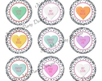 """1"""" Bottle Cap Valentine Conversation Hearts!  Printable Digital Download - 10 Bottle Cap Images per 4x6 sheet"""