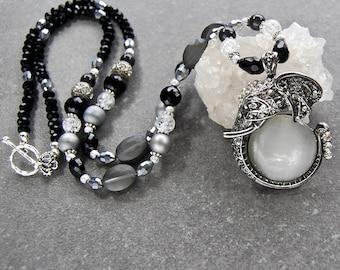 Elephant Necklace, Elephant Pendant, Boho Necklace, Long Beaded Necklace, Long Necklace