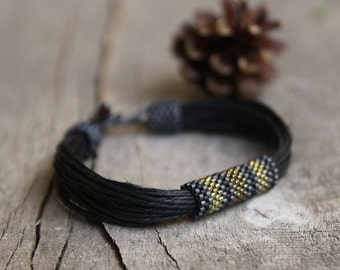 Ethnic black mens bracelet, seed beaded bracelet for him, tribal bracelet for men, organic jewelry, natural gift for him