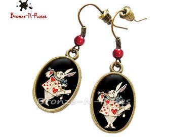 """""""White Rabbit"""" Alice in Wonderland red glass heart earrings"""