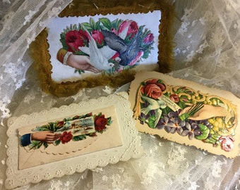 Antique Victorian Era Calling Cards Lot of Three Colourful Repousse Embellished Paper Ephemera 1900's Edwardian Era Colourful Birds Flowers
