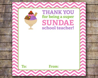 Printable Kids Sunday School Teacher Appreciation Gift Card Holder
