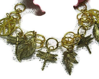 Dragonfly And Leaf   Gold Metalwork  Bracelet, Golden  Charm bracelet