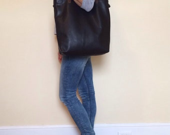 Black Leather Tote Bag, minimal black leather bag , laptop bag , soft black leather bag- Sale