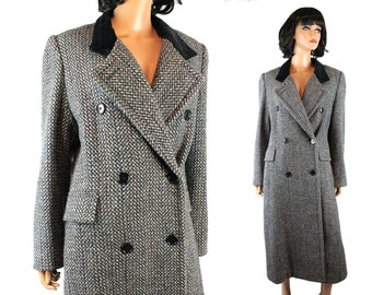 Vintage Trench Coat Sz M Gray Striped Wool Blend Black Velvet Collar Mackintosh Free US Shipping