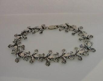 Vintage Sterling Silver Frog Link Bracelet