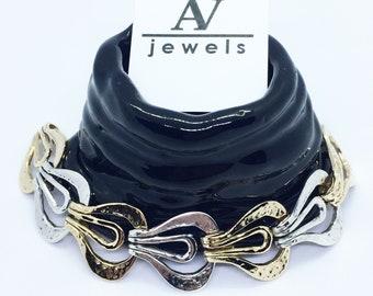 925 silver mesh bracelet and burnished bronze finish