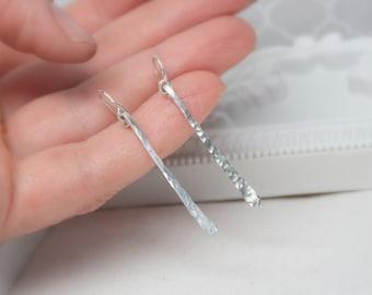 Long Hammered Drop Earrings, Solid Sterling Silver Dangle Earrings, Stick Earrings