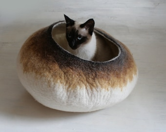Cat Kitty Bed Cave House Vessel Cocoon Cot Furniture Hand Felted Wool Latte Ombre Bubble - Crisp Contemporary Modern Minimalist Design