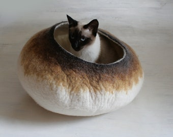 Larger Size Cat Bed / Cave / House / Vessel - Hand Felted Wool - Latte Bubble Stone - Crisp Contemporary Design