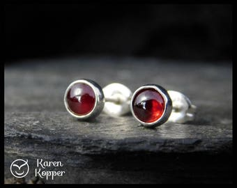 January birthstone earrings - Natural red garnet gemstone cabochon, 5mm,  sterling silver bezel, second earrings, 153