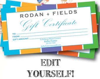 Rodan and Fields Editable Gift Certificate / Instant Download / Rodan + Fields / RF / 4 x 8 Digital File / Printable Gift Certificates