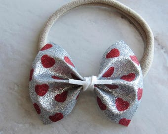 Silver sparkle with red sparkle hearts bow