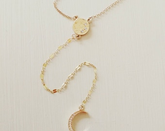 Long Gold CZ Moon Charm lariat Y necklace. Layer. Boho chic. Minimalist. Layered and long. Trendy. Quality. 14k goldfill