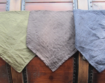 Linen bandana bibs in linen bag - Set of 3 - BABY BANDANA BIBS Ready to ship