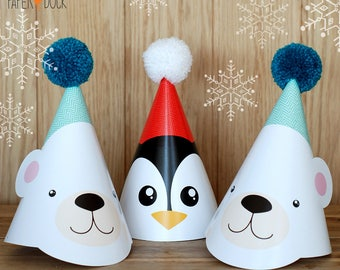 4 X POLAR BEAR PENGUIN Winter Children's Birthday Party Hat Wool Pom Pom Snow Christmas