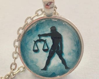 LIBRA glass pendant necklace, Astrology necklace, Libra jewellery, Silver astrology necklace