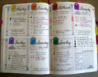 Wochenplaner / weekly spread DE, EN & blank für Bullet Journal - sofortiger digitaler Downlad