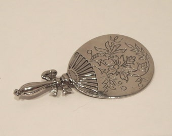 Victorian Style Floral Hand Mirror Brooch / Pin