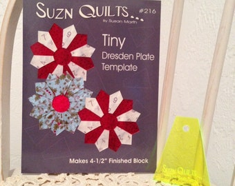 """Tiny Dresden Plate Plexiglas Template for 4-1/2"""" finished blocks"""