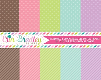 Digital Papers Personal and Commercial Use Colorful Polka Dots and Diagonal Stripes