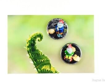 "Gnome Magnets - Fun Garden Friends - 1.5"" Garden Gnome Magnets - Elf Magnets - Original Images - Refrigerator Fun Art"