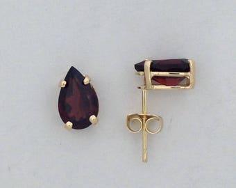Pear Shape Natural Garnet Stud Earrings Solid 14kt Yellow Gold