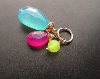 Neon Sea Blue, Hot Pink and Lime Chalcedony DIY Interchangeable Pendant Charm Trio - GALAXY - Gold, Sterling