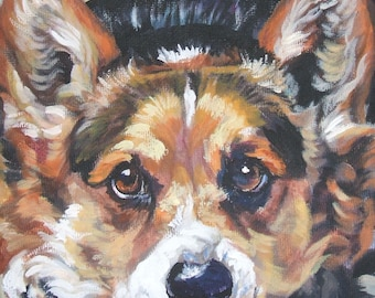 Pembroke Welsh Corgi art portrait CANVAS print of LA Shepard painting 12x12 dog art