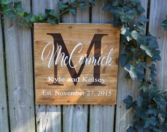 Personalized Wedding Gift, Custom Name Sign, Cedar Last Name Wood Sign, Rustic Family Established Sign, Personalized Name Sign