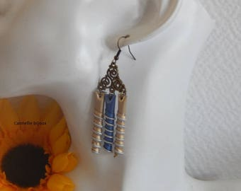 Bottle Cap earrings light gold and light blue spiral shape