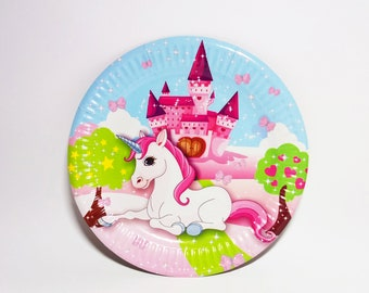 Magic unicorn paper plates. Sets of 10. Set for children's holiday, party or birthday. Unicorn dessert plates. Unicorn party.