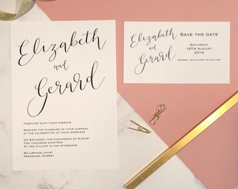 Hand written Calligraphy Invitation and Save the date set