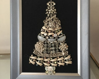 Vintage Jeweled Blue and White Christmas Tree Framed Picture