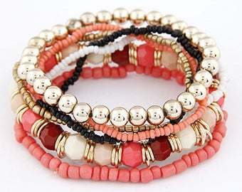 Beautiful multi strand Rose Gold 8mm Stretch Bracelet