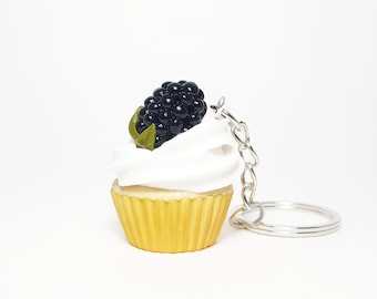 Polymer clay blackberry cupcake Miniature cupcake keychain Miniature food keychain Miniature cake Polymer clay berry cupcake Cake necklace