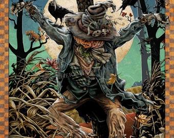 Autumn Decor - Pumpkin Art - Halloween Art - Rustic Fall Decor - Crows - Crow Art - Crow Painting - Raven Art -Folk Art Painting -Black Crow