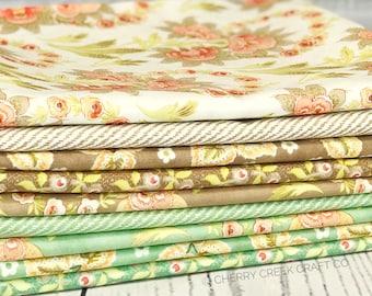 Hazel & Plum Seafoam One Yard Bundle - Moda Fabric - Fig Tree Quilts - Hazel and Plum Fabric - Moda Bundle - 9 pieces