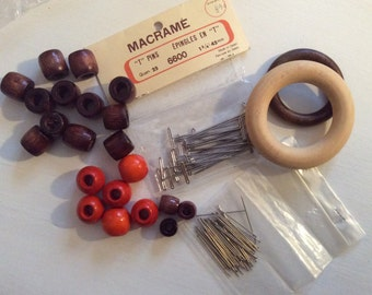 Macrame vintage supply lot / T-pins and wood beads/ Wood rings