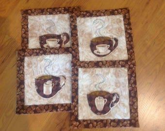 Hand Appliqued Coffee Mug Rugs, Set of 4