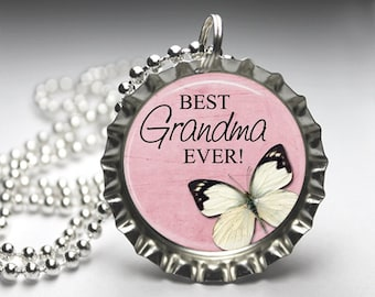 Grandma Butterfly Bottlecap Pendant Necklace - Free Ball Chain